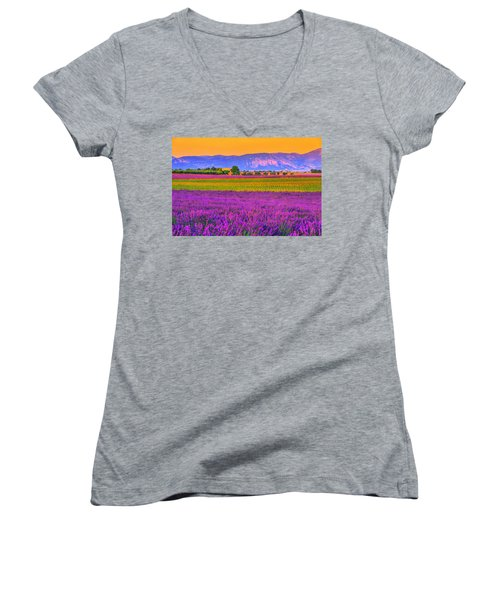 Colors Of Provence Women's V-Neck T-Shirt (Junior Cut) by Midori Chan