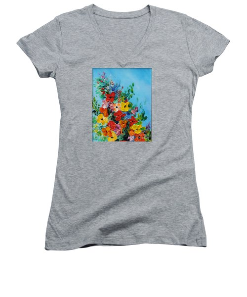 Women's V-Neck T-Shirt (Junior Cut) featuring the painting Colour Of Spring by Teresa Wegrzyn