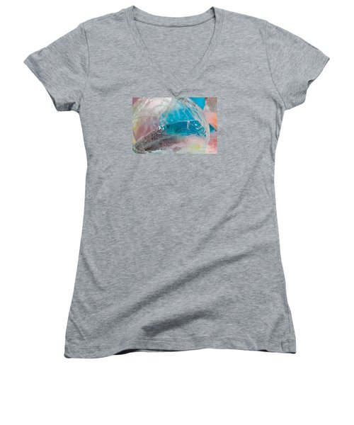 Coloured Ice Creation Print #4 Women's V-Neck T-Shirt (Junior Cut) by Nina Silver
