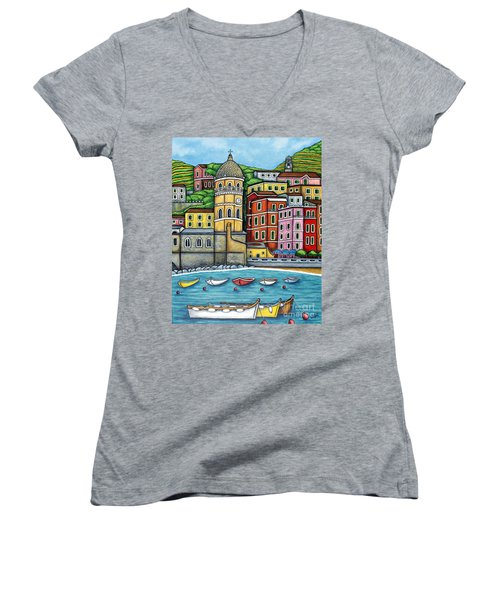 Colours Of Vernazza Women's V-Neck (Athletic Fit)
