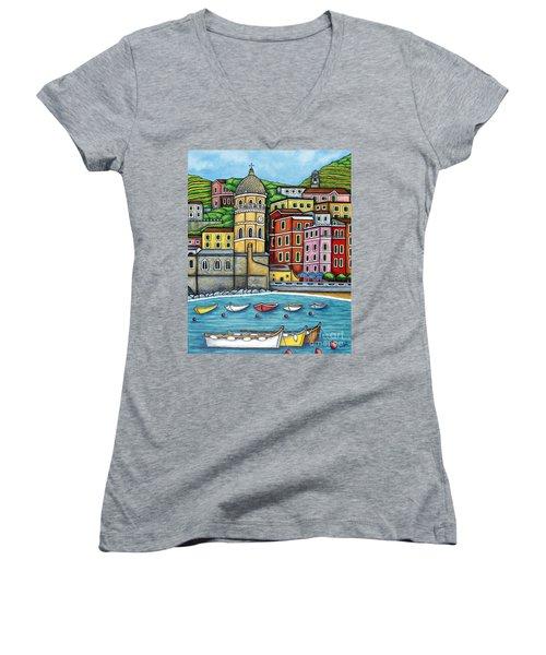 Colours Of Vernazza Women's V-Neck T-Shirt