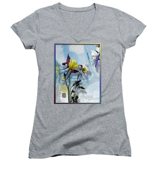 Columbine Blossom With Suminagashi Ink Women's V-Neck T-Shirt (Junior Cut) by Peter v Quenter