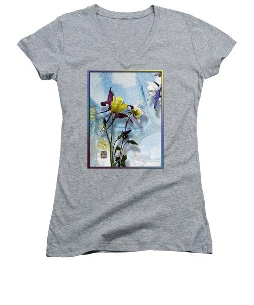 Columbine Blossom With Suminagashi Ink Women's V-Neck T-Shirt