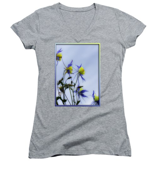 Women's V-Neck T-Shirt (Junior Cut) featuring the photograph Columbines by Peter v Quenter