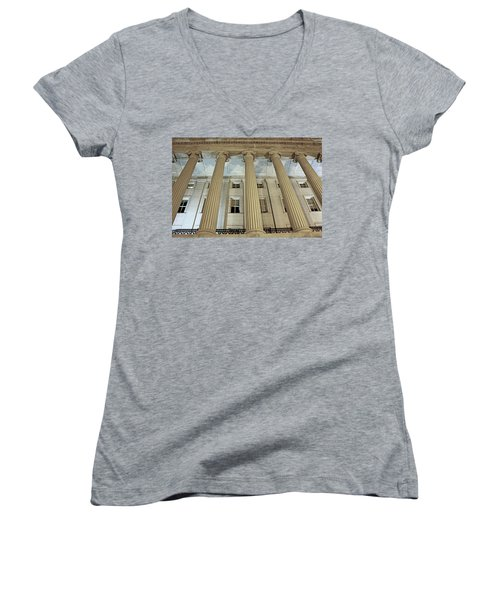 Women's V-Neck T-Shirt (Junior Cut) featuring the photograph Columns Of History by Suzanne Stout