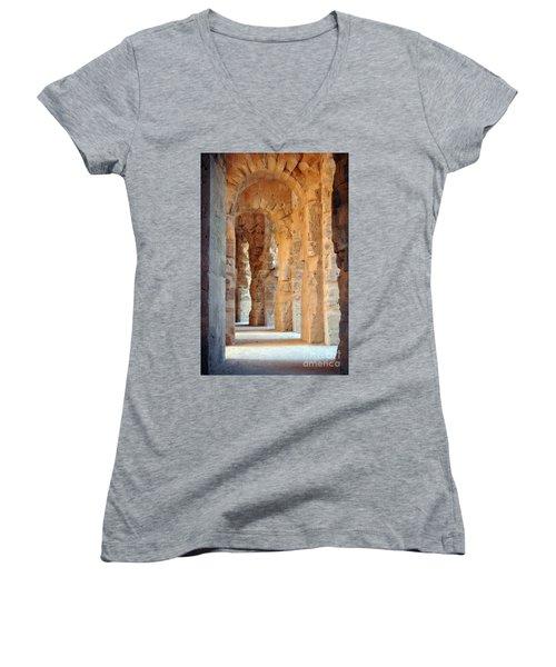 Columns Women's V-Neck T-Shirt (Junior Cut) by Randi Grace Nilsberg