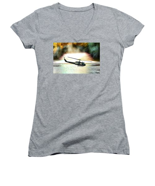 Combat Helicopter Women's V-Neck (Athletic Fit)