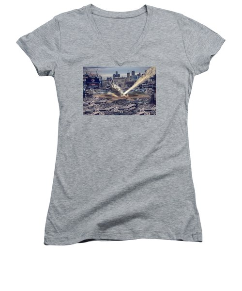 Women's V-Neck T-Shirt (Junior Cut) featuring the photograph Comerica Park Asteroid by Nicholas  Grunas