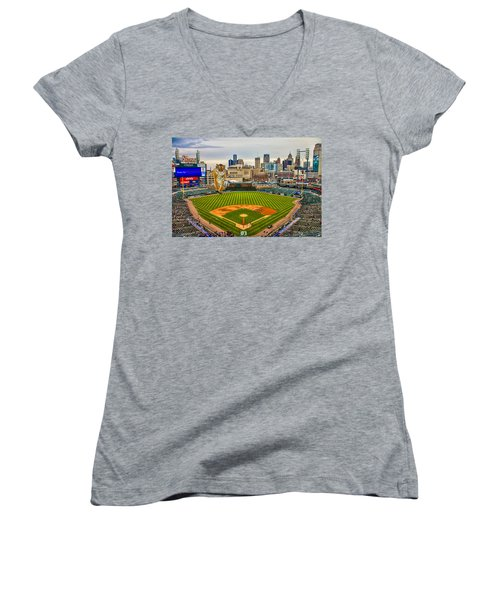 Women's V-Neck T-Shirt (Junior Cut) featuring the photograph Comerica Park Detroit Mi With The Tigers by Nicholas  Grunas