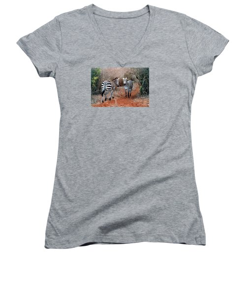 Women's V-Neck T-Shirt (Junior Cut) featuring the photograph Coming And Going by Phyllis Kaltenbach