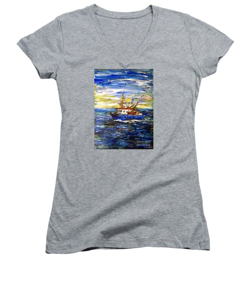 Women's V-Neck T-Shirt (Junior Cut) featuring the painting Coming Back by Arturas Slapsys