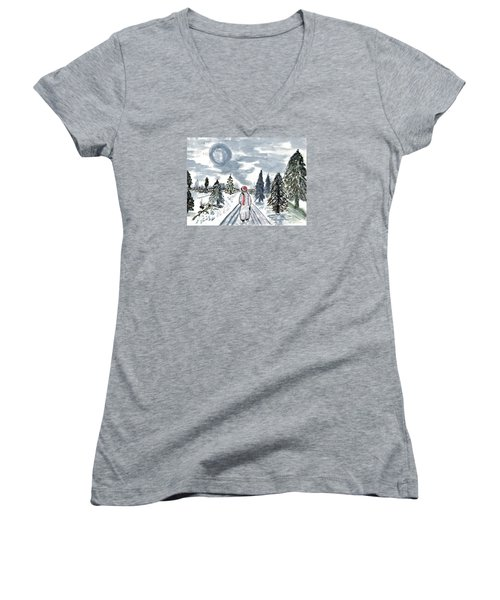 Women's V-Neck T-Shirt (Junior Cut) featuring the painting Coming Home by Connie Valasco