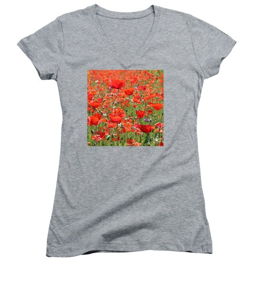Commemorative Poppies Women's V-Neck (Athletic Fit)