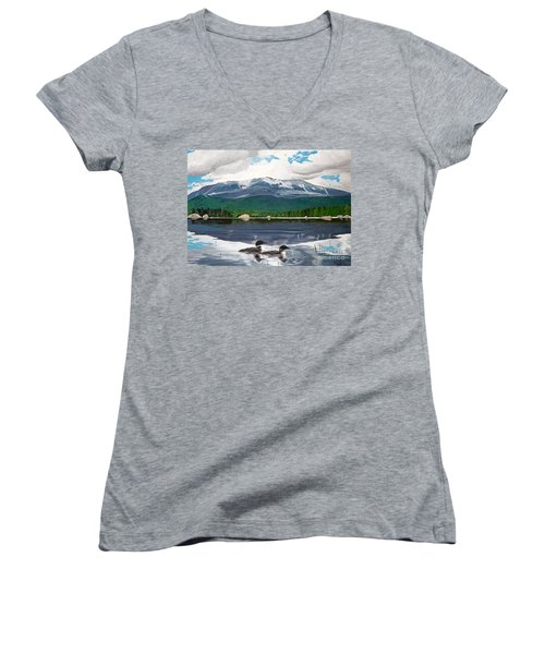 Common Loon On Togue Pond By Mount Katahdin Women's V-Neck