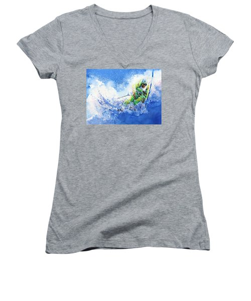 Women's V-Neck (Athletic Fit) featuring the painting Competitive Edge by Hanne Lore Koehler
