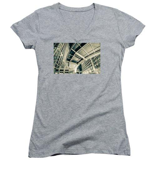 Women's V-Neck T-Shirt (Junior Cut) featuring the photograph Complex Architecture by Alex Grichenko