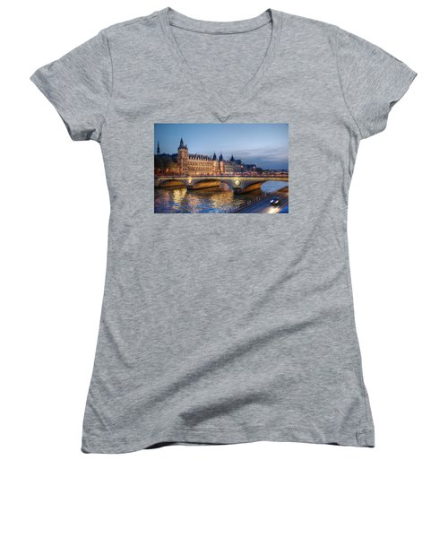 Women's V-Neck T-Shirt (Junior Cut) featuring the photograph Conciergerie And Pont Napoleon At Twilight by Jennifer Ancker