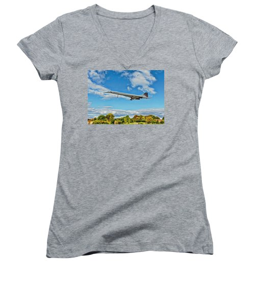 Women's V-Neck T-Shirt (Junior Cut) featuring the digital art Concorde On Finals by Paul Gulliver