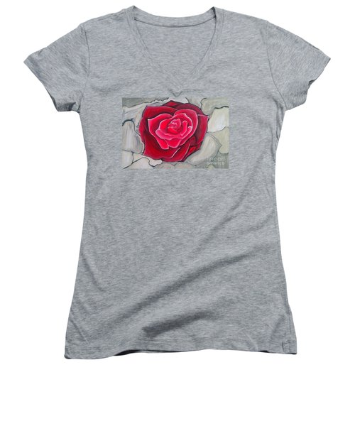 Women's V-Neck T-Shirt (Junior Cut) featuring the painting Concrete Rose by Marisela Mungia