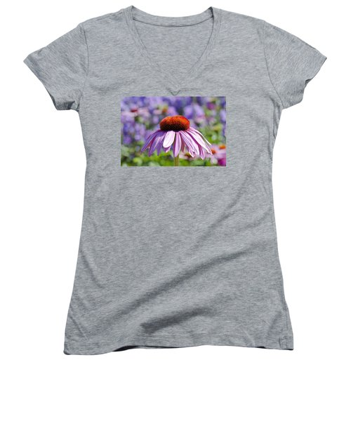 Women's V-Neck T-Shirt (Junior Cut) featuring the photograph Coneflower by Lana Enderle