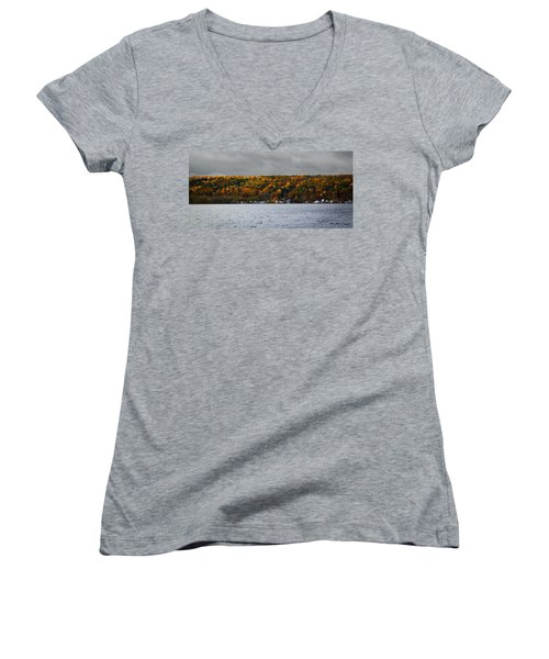 Conesus Lake Autumn Women's V-Neck T-Shirt