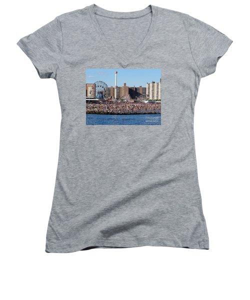 Women's V-Neck T-Shirt (Junior Cut) featuring the photograph Coney Island by Ed Weidman