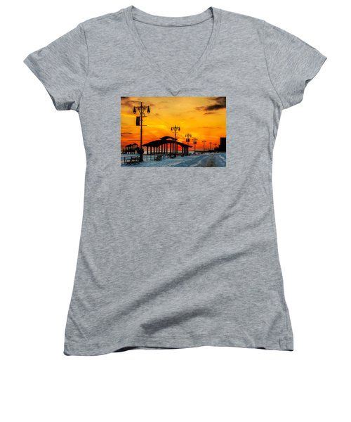 Coney Island Winter Sunset Women's V-Neck T-Shirt