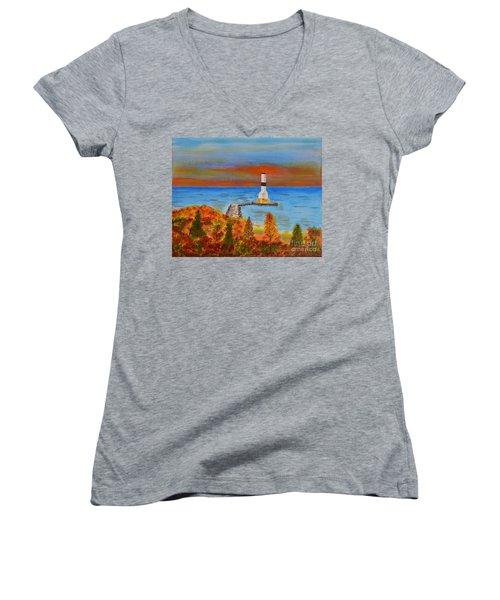 Fall, Conneaut Ohio Light House Women's V-Neck T-Shirt (Junior Cut) by Melvin Turner