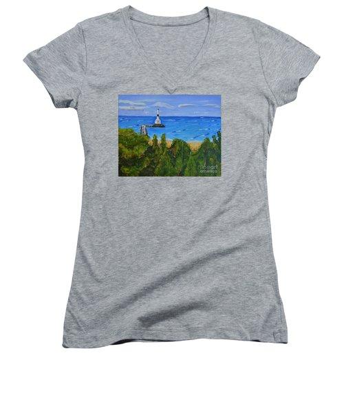 Summer, Conneaut Ohio Lighthouse Women's V-Neck T-Shirt (Junior Cut) by Melvin Turner