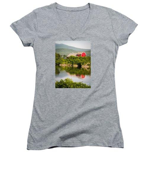 Women's V-Neck T-Shirt featuring the photograph Connecticut River Farm by Edward Fielding