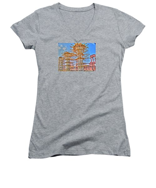 Women's V-Neck T-Shirt (Junior Cut) featuring the pyrography construction whsd  Peterburg by Yury Bashkin