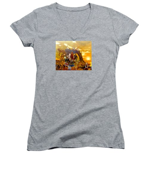 Women's V-Neck T-Shirt (Junior Cut) featuring the painting Constructors Of Time by Henryk Gorecki