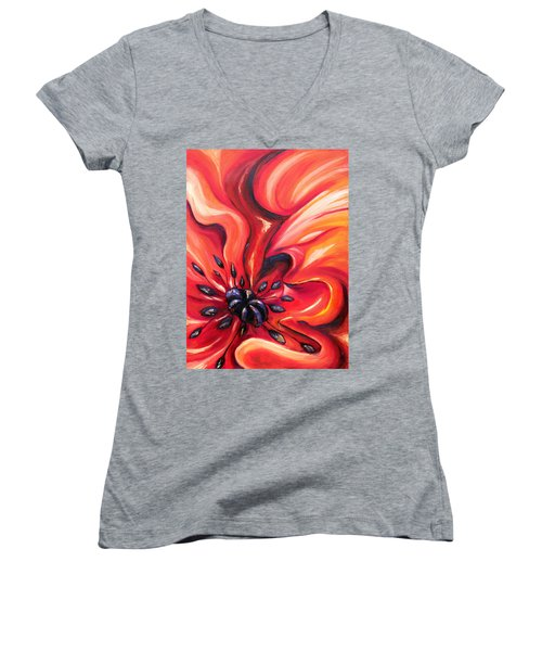 Women's V-Neck T-Shirt (Junior Cut) featuring the painting Consuming Fire by Meaghan Troup