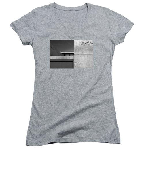 Contemporary Concrete Block Architecture Tree Women's V-Neck