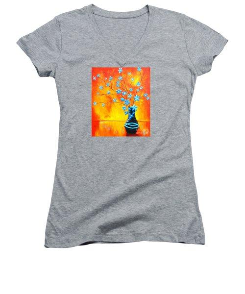 Cool Blue On Fire Women's V-Neck