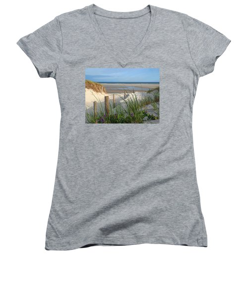Cool Of Morning Women's V-Neck T-Shirt (Junior Cut) by Dianne Cowen