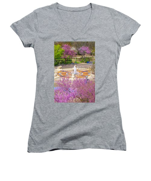 Coolidge Park Fountain In Spring Women's V-Neck