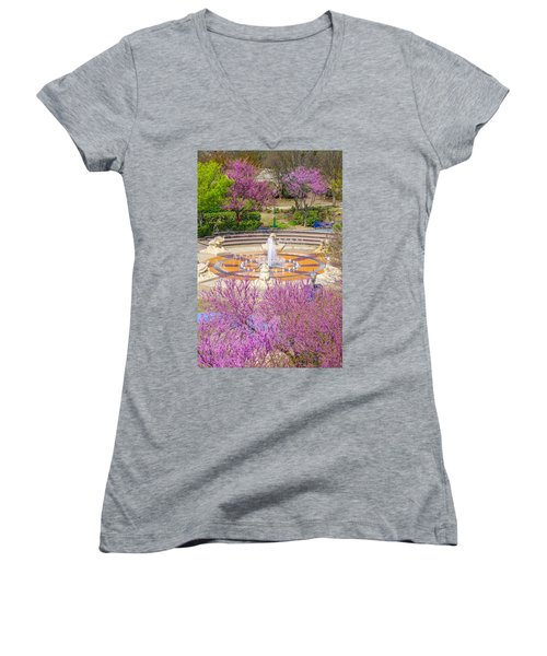 Coolidge Park Fountain In Spring Women's V-Neck (Athletic Fit)