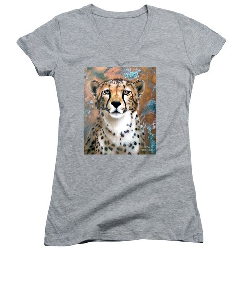 Copper Flash - Cheetah Women's V-Neck T-Shirt