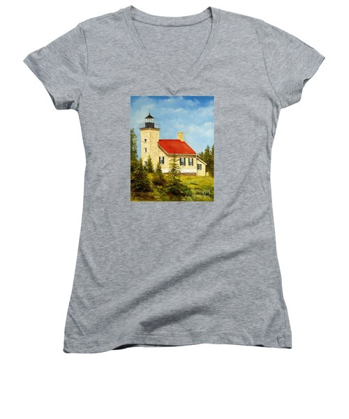 Women's V-Neck T-Shirt (Junior Cut) featuring the painting Copper Harbor Lighthouse by Lee Piper