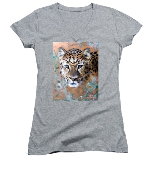 Copper Stealth - Leopard Women's V-Neck T-Shirt