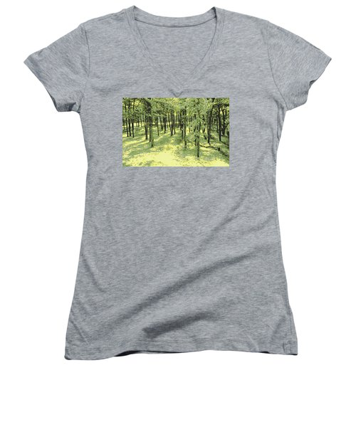 Women's V-Neck T-Shirt (Junior Cut) featuring the photograph Copse Of Trees Sunlight by Tom Wurl