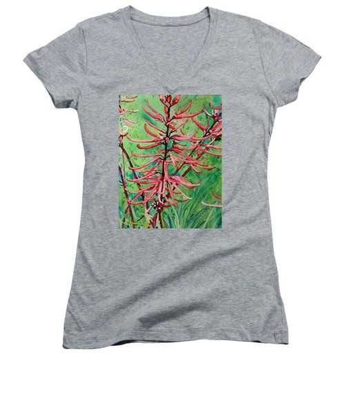 Coral Bean Flowers Women's V-Neck T-Shirt