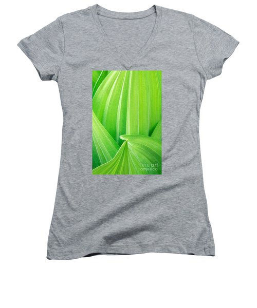 Women's V-Neck T-Shirt (Junior Cut) featuring the photograph Corn Lily Leaf Detail Yosemite Np California by Dave Welling