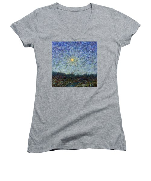 Women's V-Neck T-Shirt (Junior Cut) featuring the painting Cornbread Moon - Square by James W Johnson