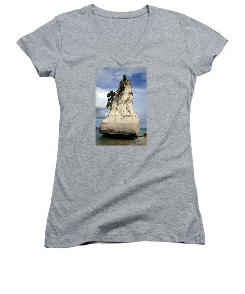 Coromandel Rock Women's V-Neck T-Shirt (Junior Cut) by Barbie Corbett-Newmin