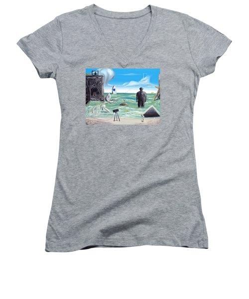 Cosmic Broadcast -last Transmission- Women's V-Neck T-Shirt (Junior Cut) by Ryan Demaree