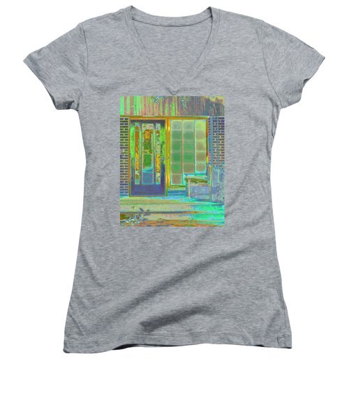 Cottage Porch Women's V-Neck T-Shirt (Junior Cut) by Don and Judi Hall