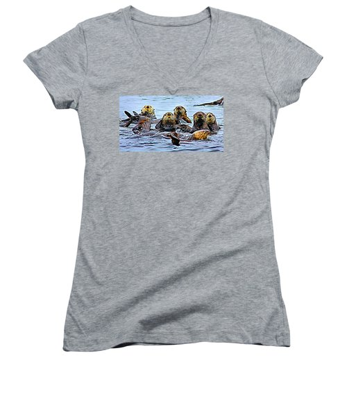 Couch Critters Women's V-Neck T-Shirt (Junior Cut) by Kristin Elmquist