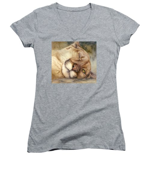 Women's V-Neck T-Shirt (Junior Cut) featuring the painting Cougar    I See You     by Bonnie Rinier